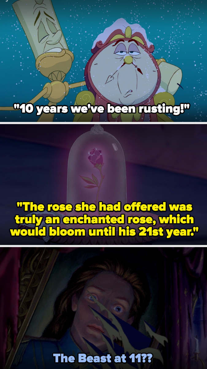 Lumiere singing that they've ben rusting for 10 years, then a photo of the rose from the prologue, when it was stated that the rose would bloom until the Beast was 21, then a photo of the Beast as a human, asking if he was 11 in it