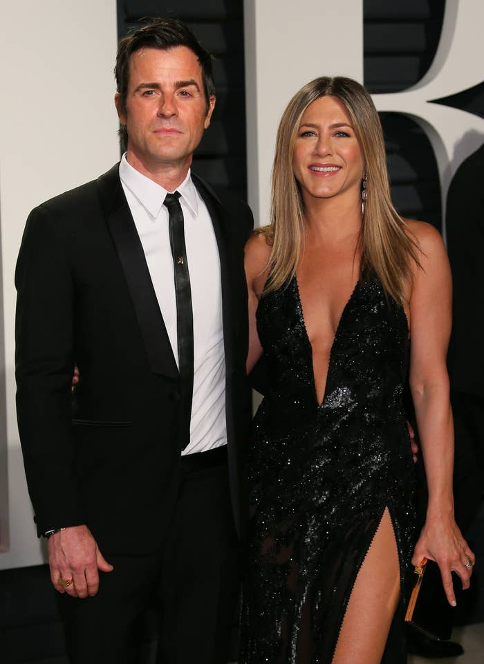 Justin Theroux and Jennifer Aniston at the Vanity Fair Oscar Party in 2017