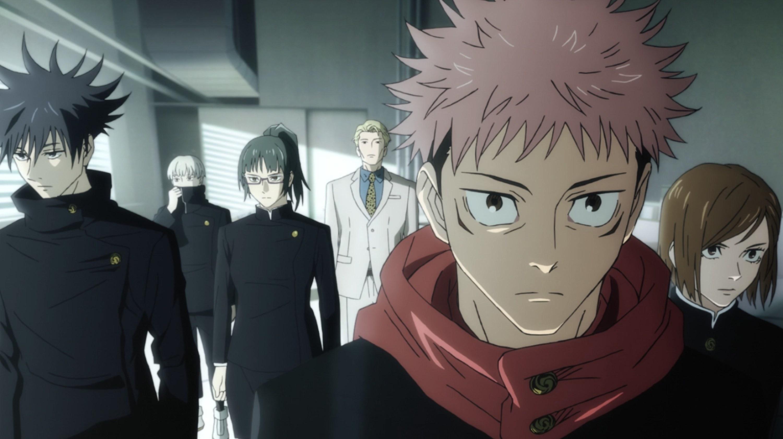 Yuji and his classmates walking forward with intense concentration