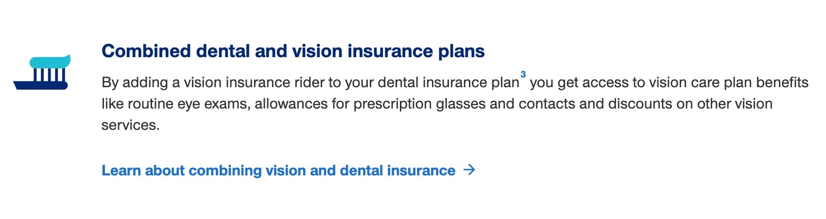 Screenshot of dental and vision plans