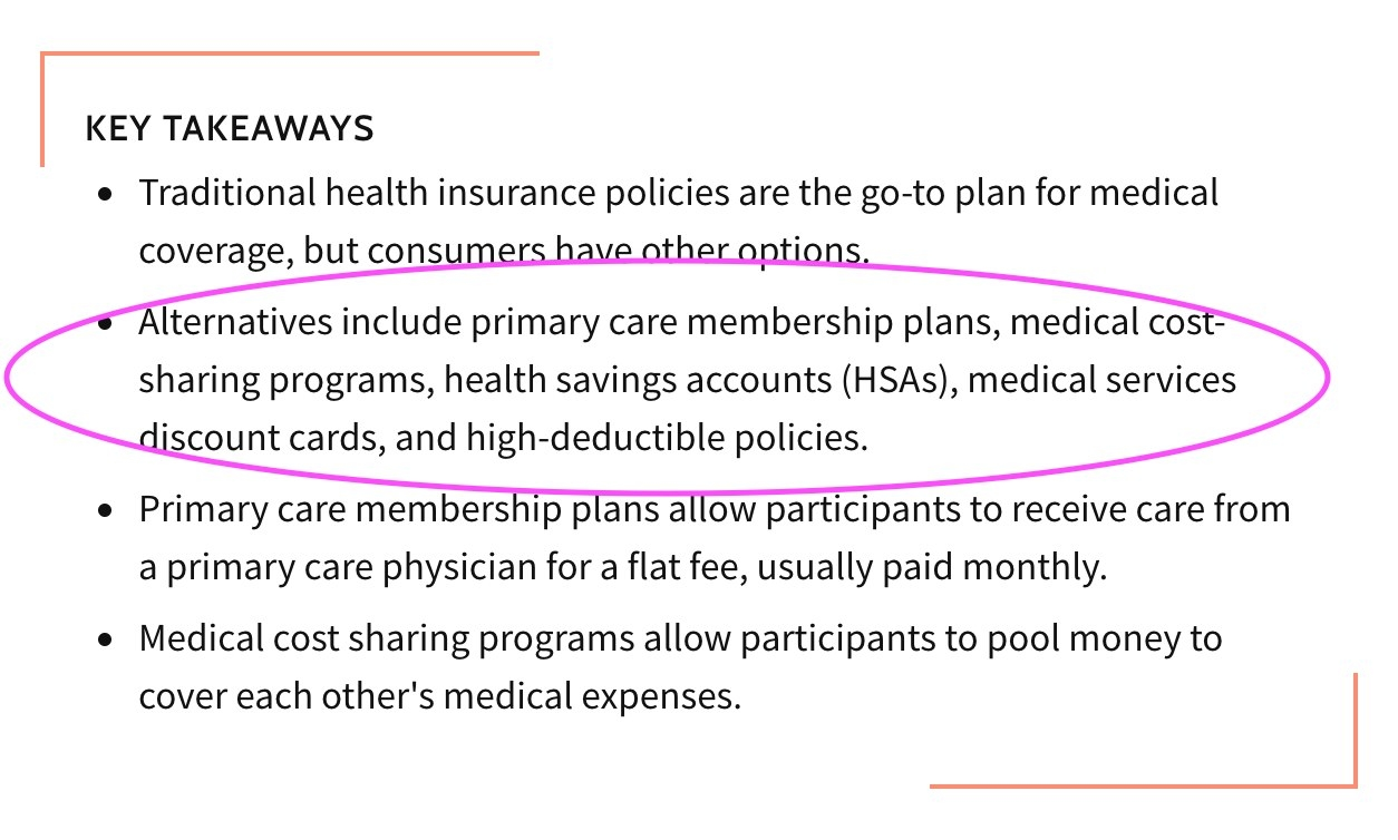 Screenshot of alternate health plans