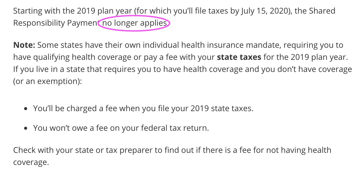 Screenshot of the new policy for people who choose not to get insurance