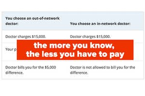 Screenshot of out of network and in network costs