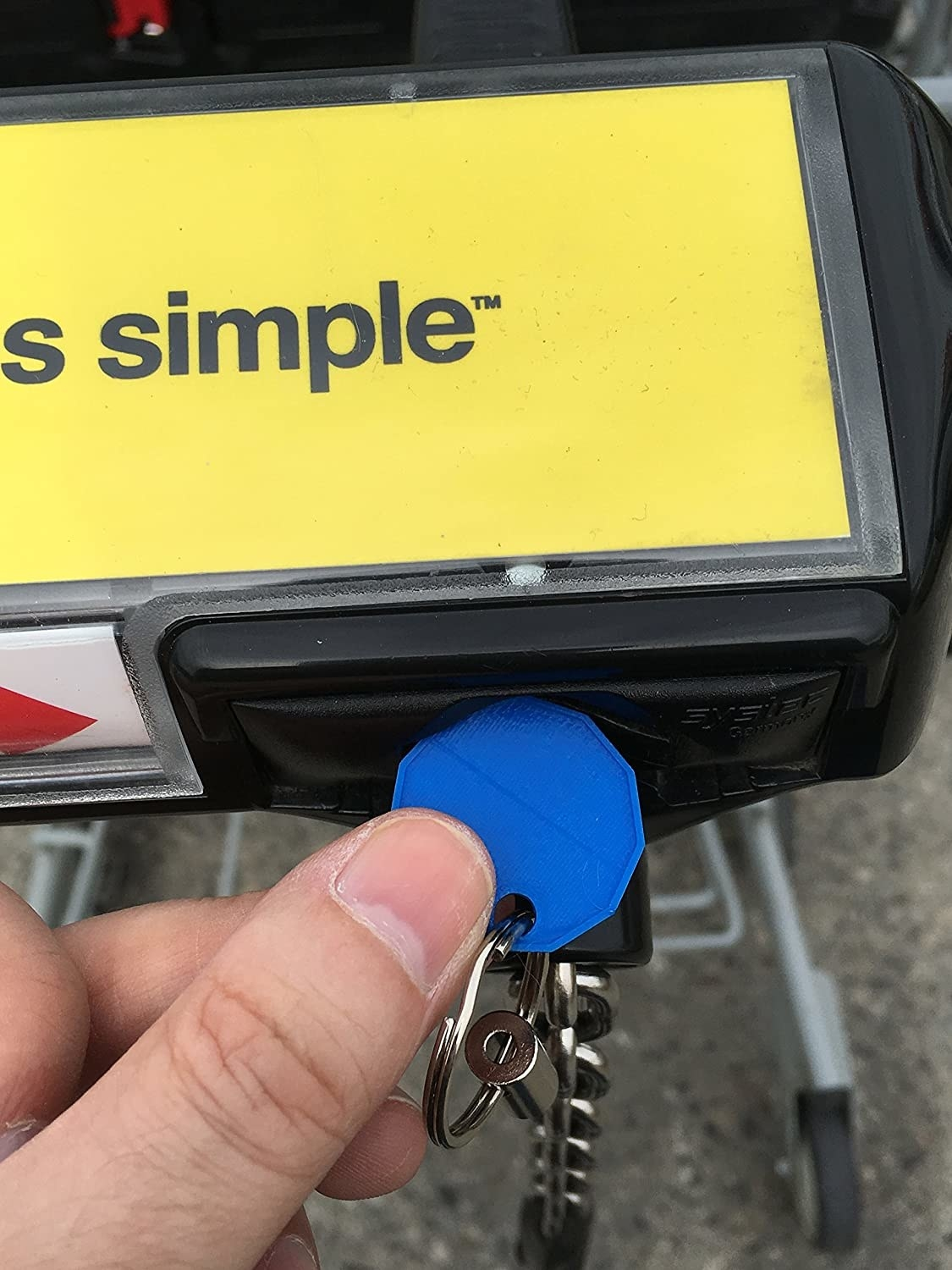A person putting the coin into a grocery cart