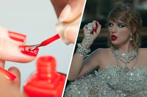 A woman is on the left painting her nails with Taylor Swift on the right dressed in diamonds