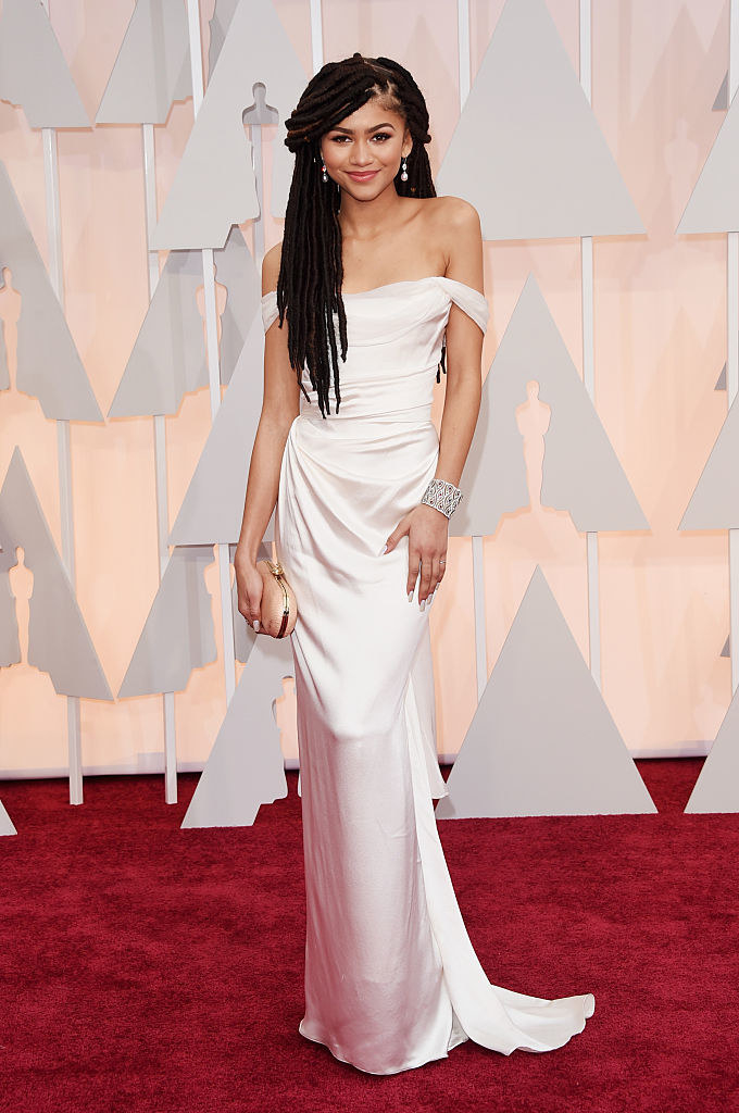 Zendaya in an off-the-shoulder gown and a diamond bangle
