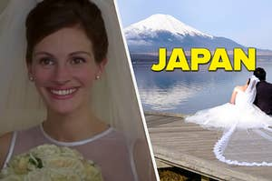 """Julia Roberts is on the left in a veil with a couple by a mountain view labeled, """"Japan"""""""