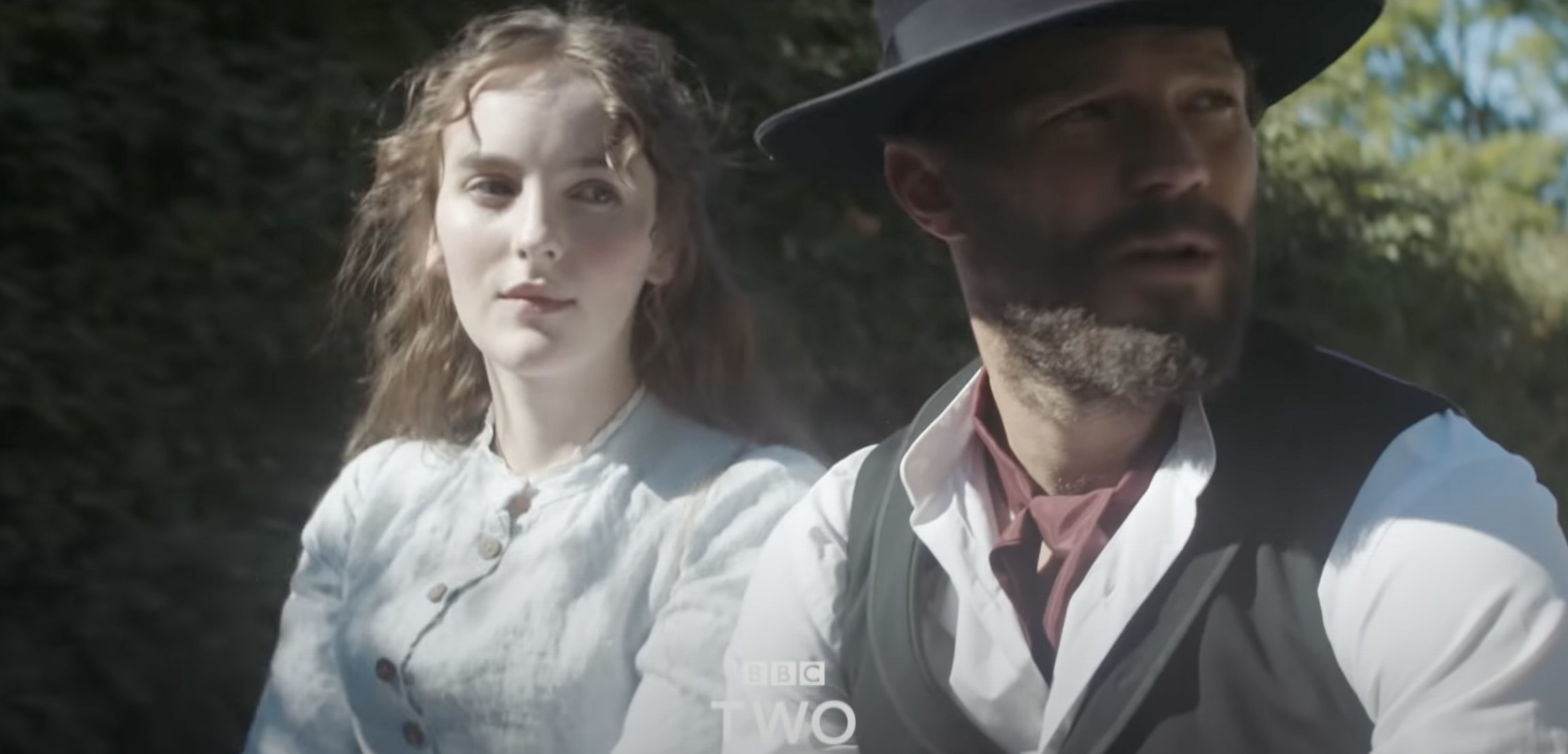 Ann Skelly and Jamie Dornan in Death and Nightingales in a carriage
