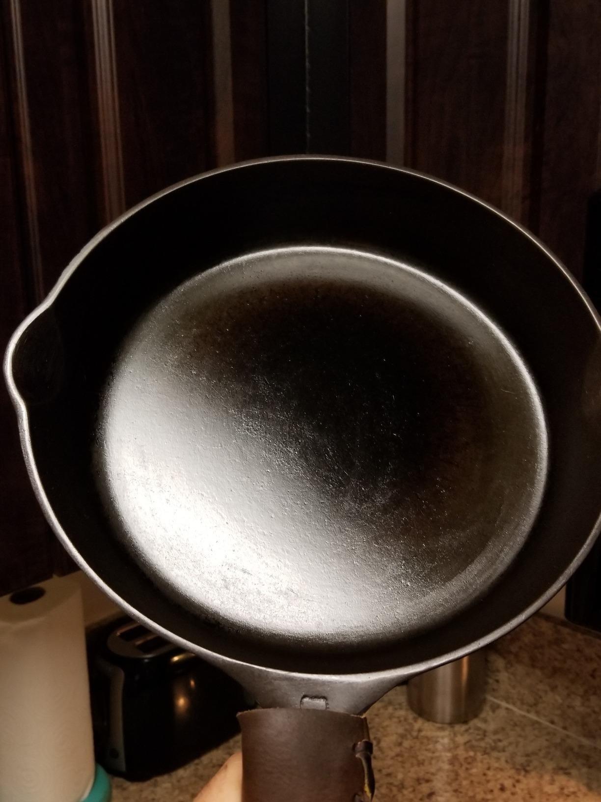 a very shiny cast iron skillet