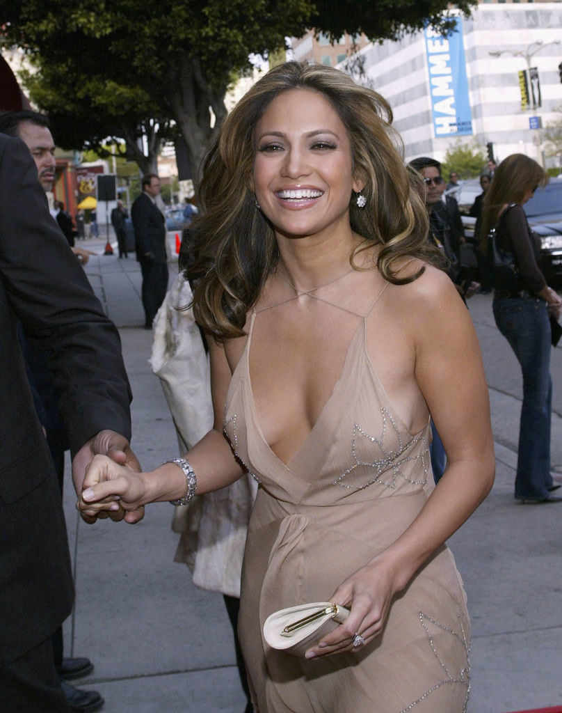 J.Lo in a nude plunging gown, with crisscross detail