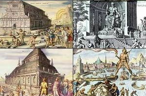 Paintings of some of the 7 Ancient Wonders of the World