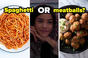 """A plate of spaghetti is on the left with Ginny in the center and meatballs on the right with a label that reads: """"Spaghetti or meatballs?"""""""