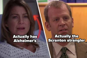 """Meredith Grey in a hospital bed in """"Grey's Anatomy"""" and Toby Flenderson from """"The Office"""""""