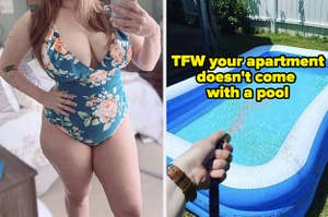 L: Reviewer wearing blue floral bathing suit R: Reviewer hosing water into an inflatable pool