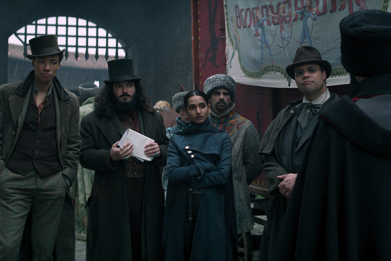 KIT YOUNG as JESPER FAHEY, AMITA SUMAN as INEJ GHAFA and HOWARD CHARLES as ARKEN in SHADOW AND BONE