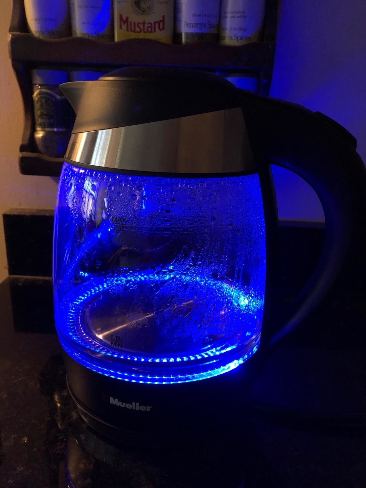 the kettle with blue lights lit up