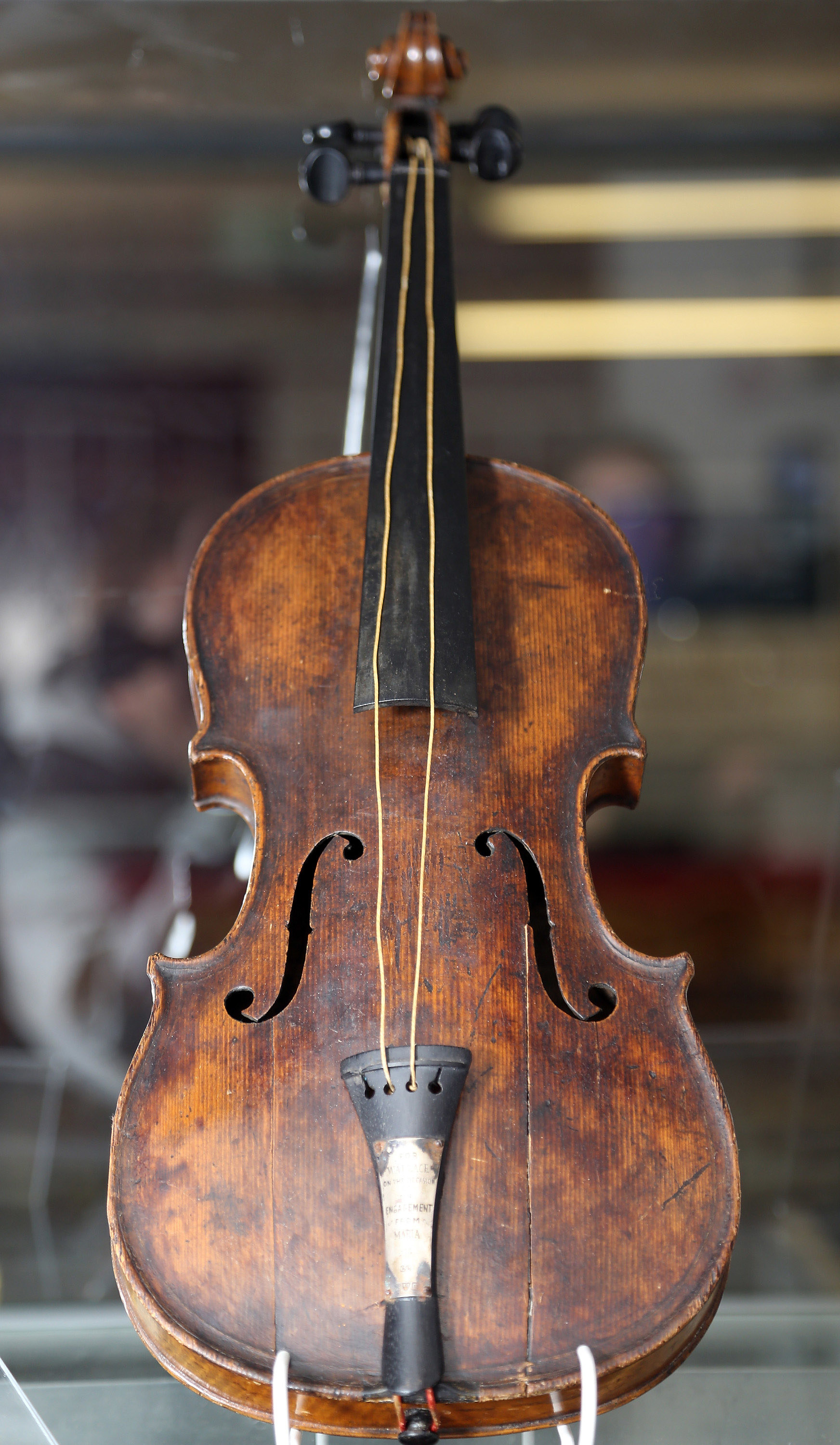 The violin in a display case