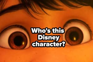 """A zoomed in photo is showing Coco's eyes labeled, """"Who's this Disney character?"""""""