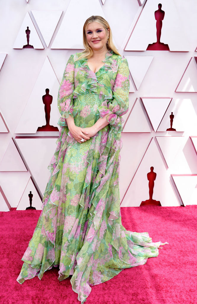 Emerald wore a flow-y, floral gown