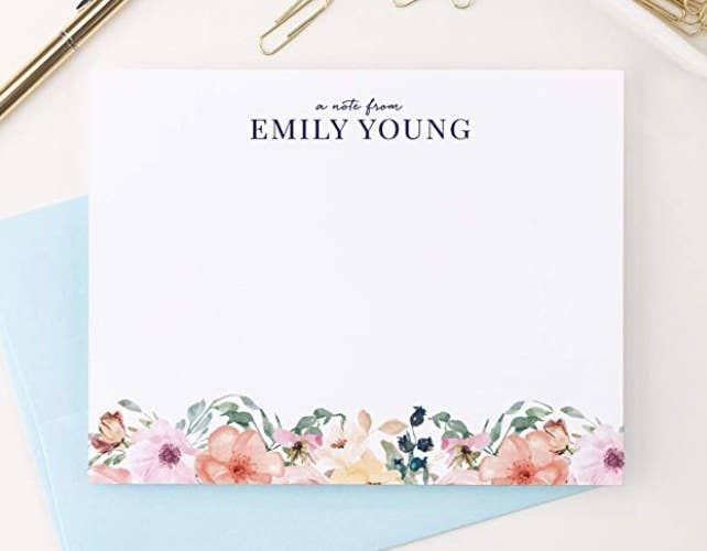 The floral stationary personalized for Emily Young