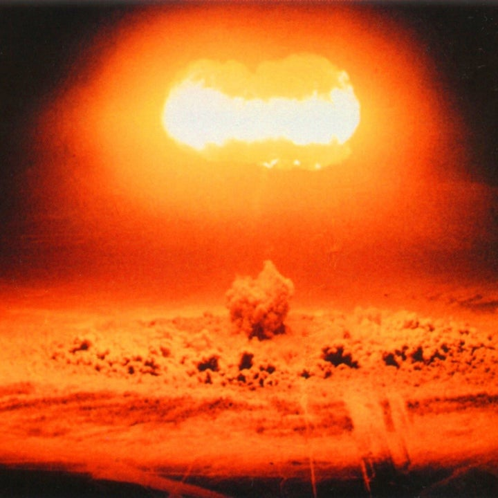 A nuclear bomb detonating from a distance