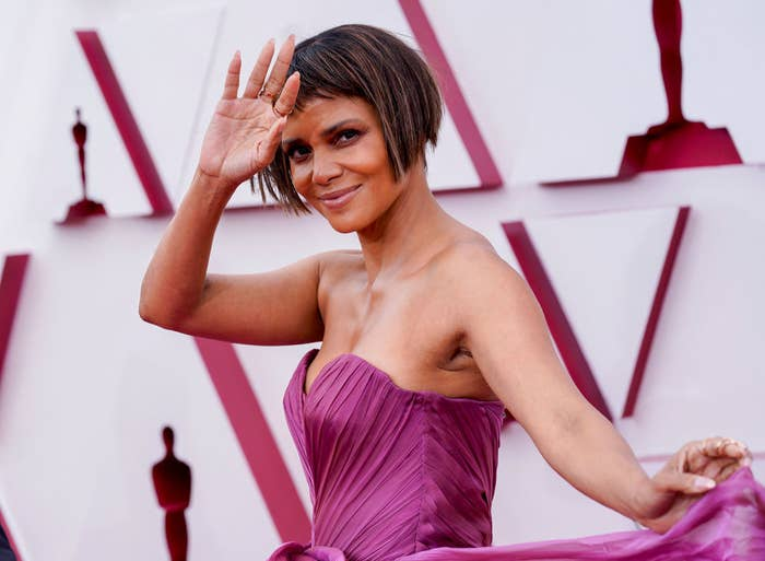 Halle Berry attends the 93rd Annual Academy Awards in a strapless Dolce & Gabbana gown