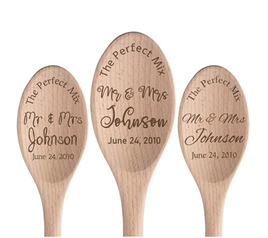 """A spoon engraved with """"The perfect mix: Mr and Mrs Johnson, June 24, 2010"""""""