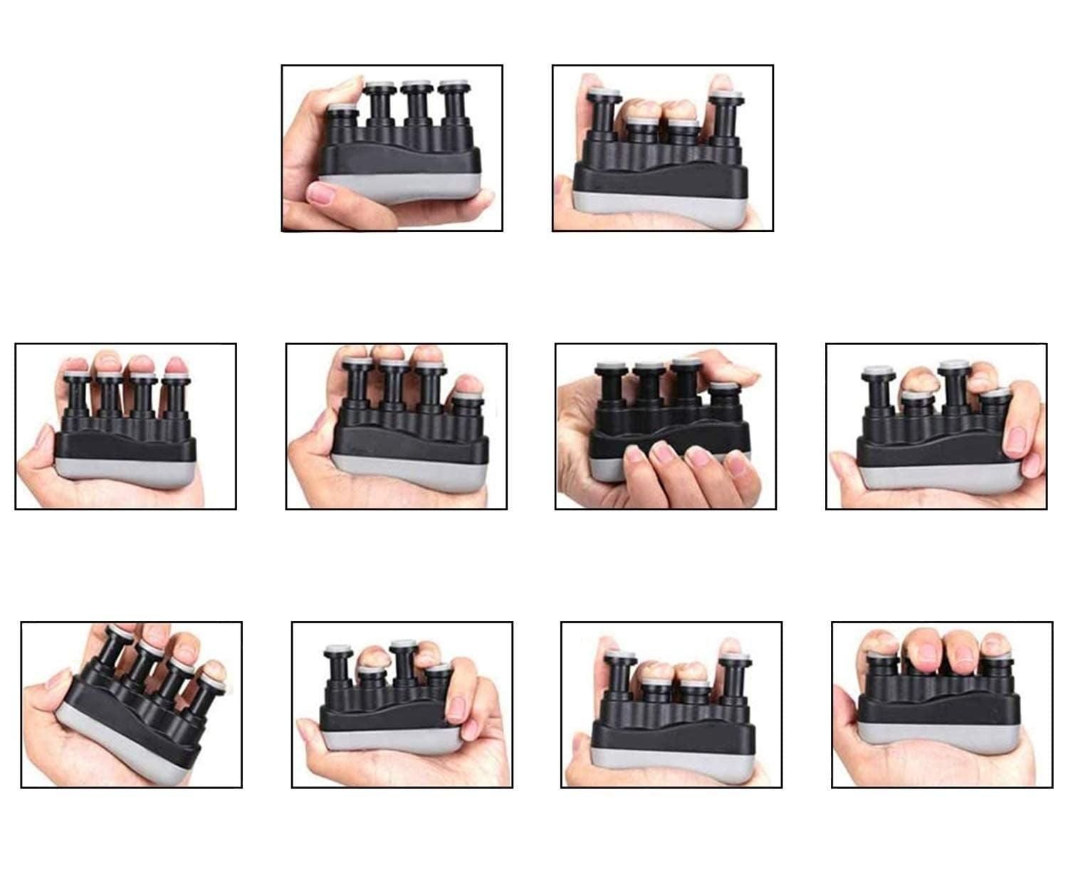 Collage of a hand pressing down on the buttons on the hand grip.