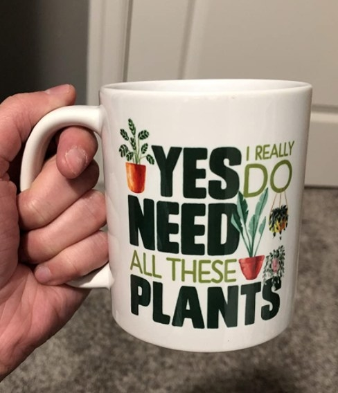 """A reviewer holding the mug that reads """"Yes I do really need all these plants"""""""
