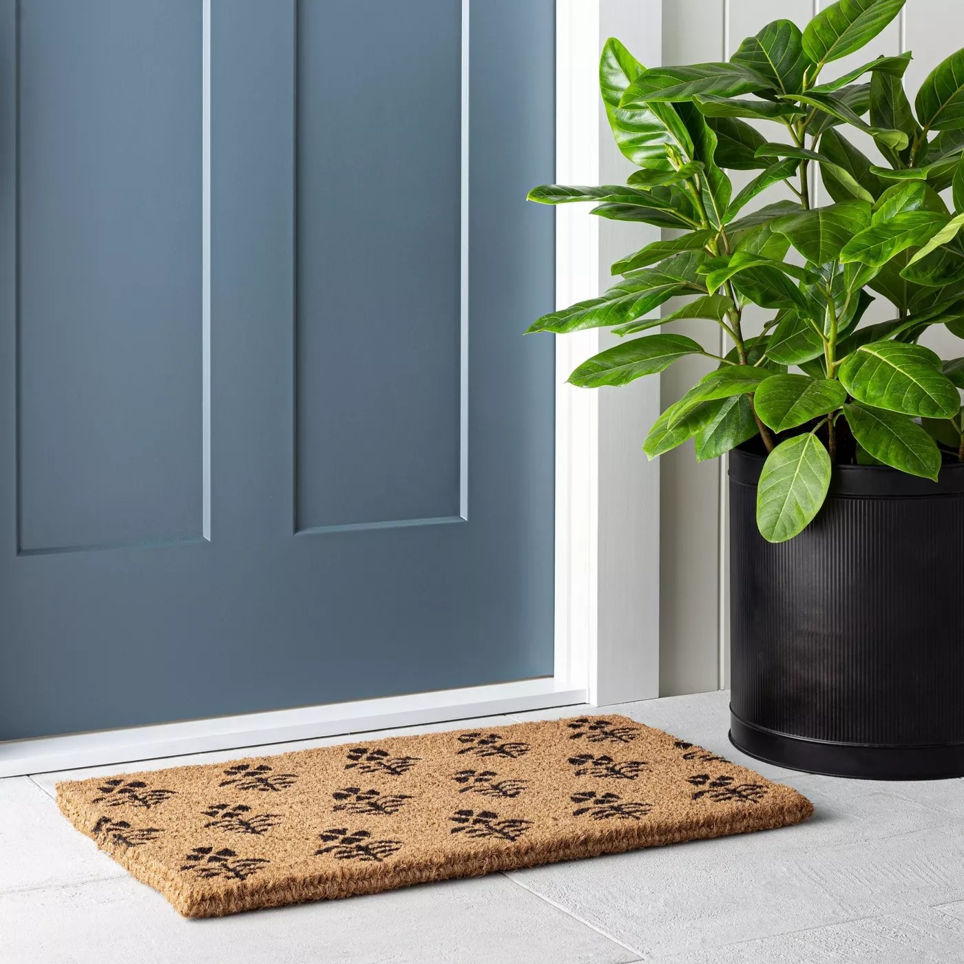 The natural doormat with a black pattern