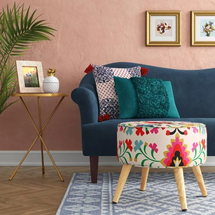 The floral-printed ottoman