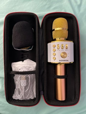 the microphone in gold