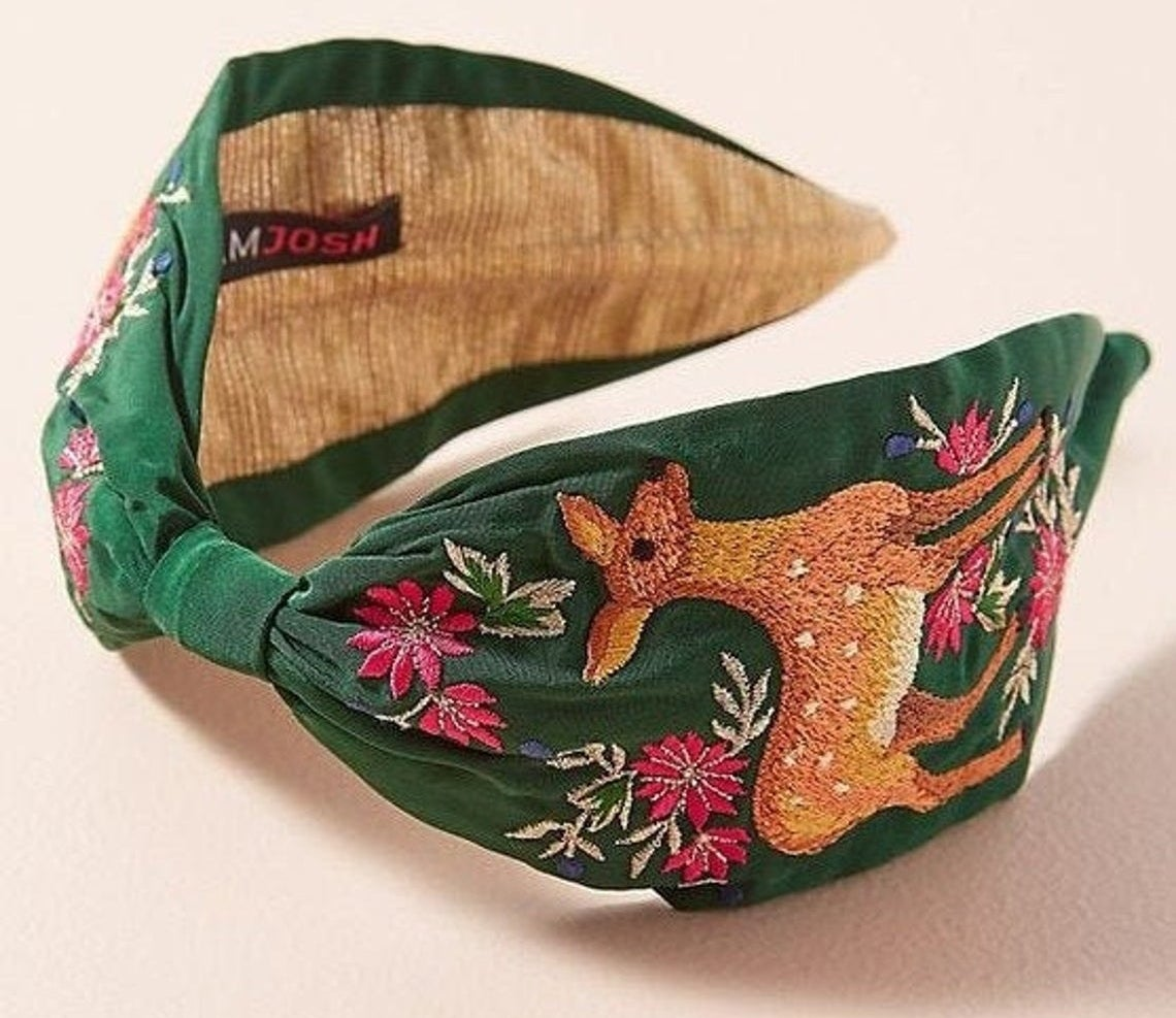 The deer embroidered headband