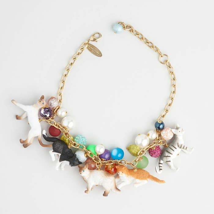 the statement necklace with colorful beads and cat figures