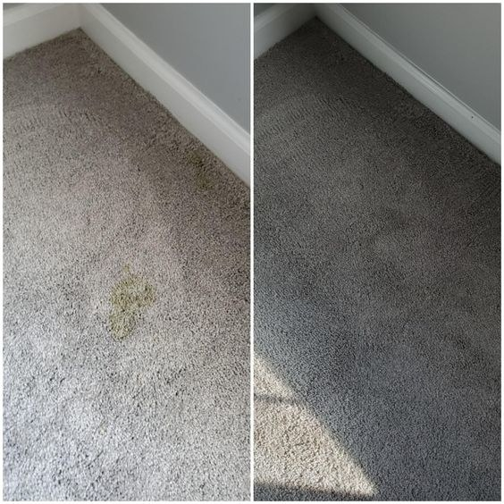 A before and after picture showing the yellow stain on the carpet and then the clean carpet after using the stain removing pads