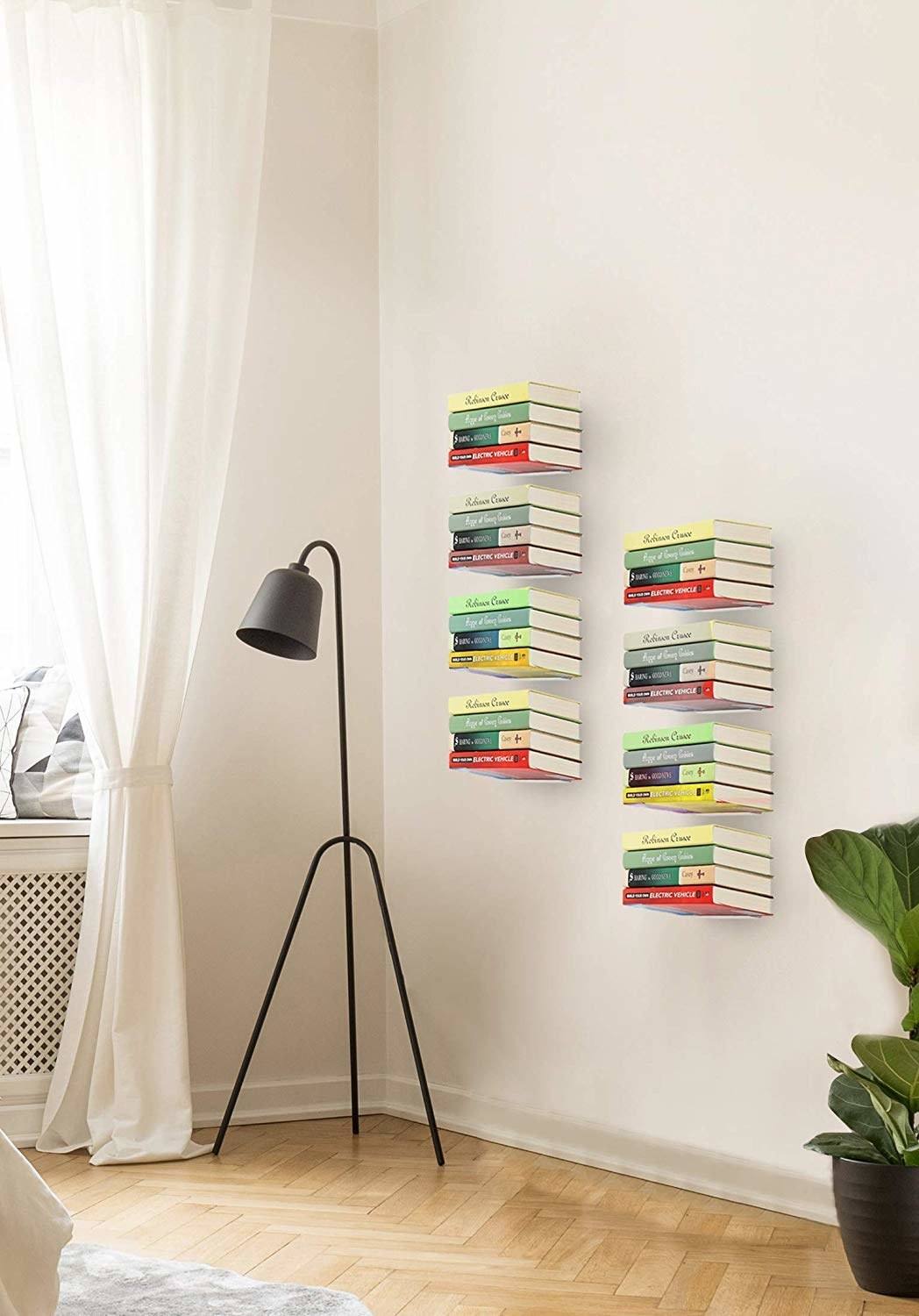 Flat metal shelves that give the illusion of being invisible when books are placed on them.