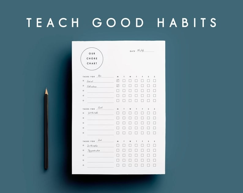 minimalist chore chart with boxes for check marks and lines for writing in chores