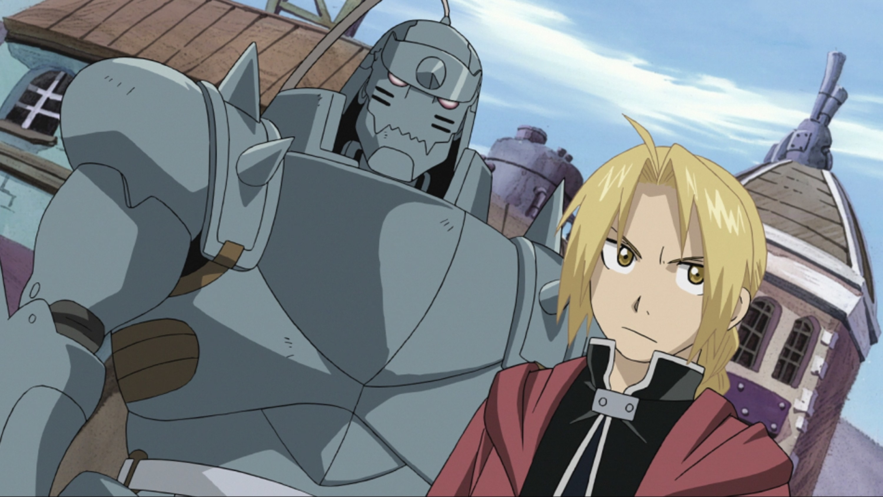 Alphonse and Elric looking into the distance with a serious expression