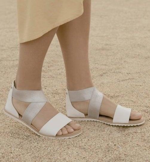 model wearing flat strappy sandals