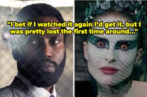 """John David Washington in Tenet side by side with Natalie Portman in Black Swan with text reading """"I bet if I watched it again I'd get it, but I was pretty lost the first time around"""""""