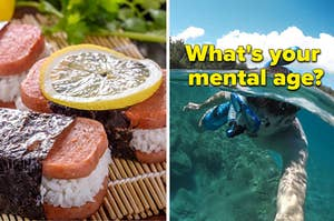 "Two spam sushi rolls are on the left with a man snorkeling on the right labeled, ""What's your mental age?"""