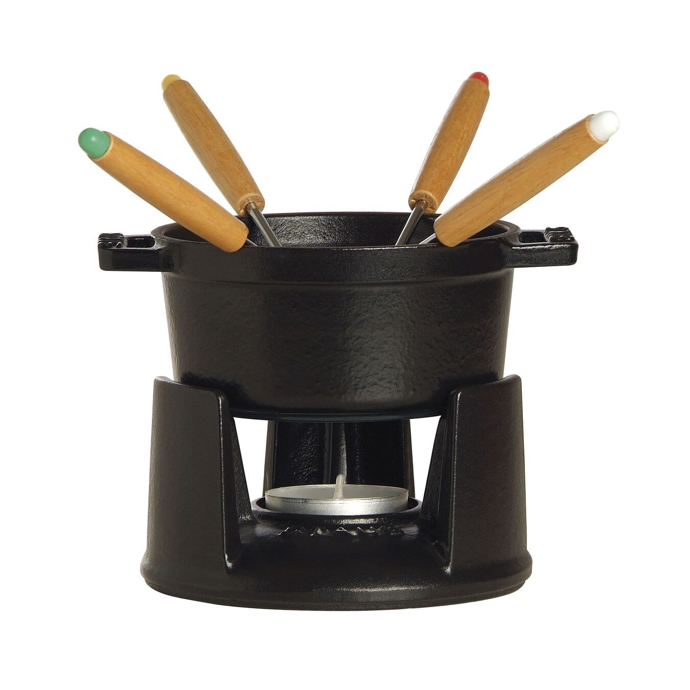 the black fondue pot and sticks to dip food in