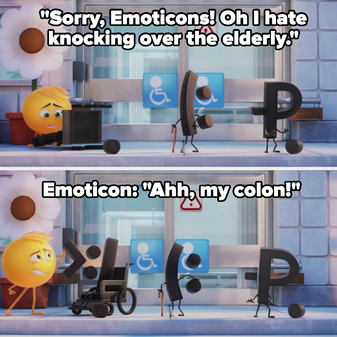 """The main emoji knocks over the elderly emoticons, injuring one's """"colon"""""""