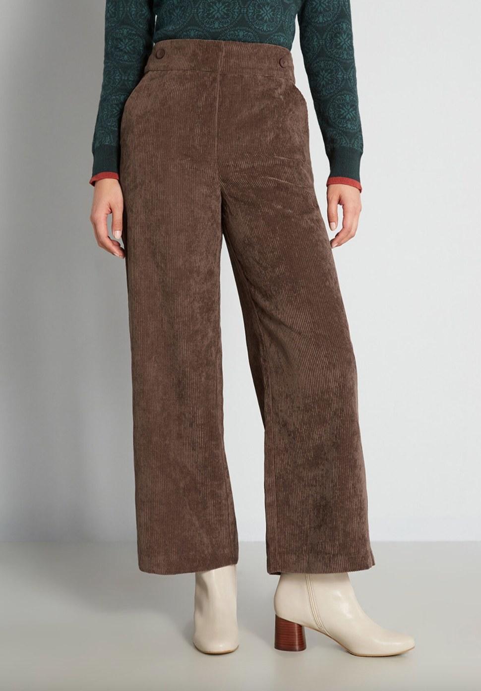 model wearing the brown pants