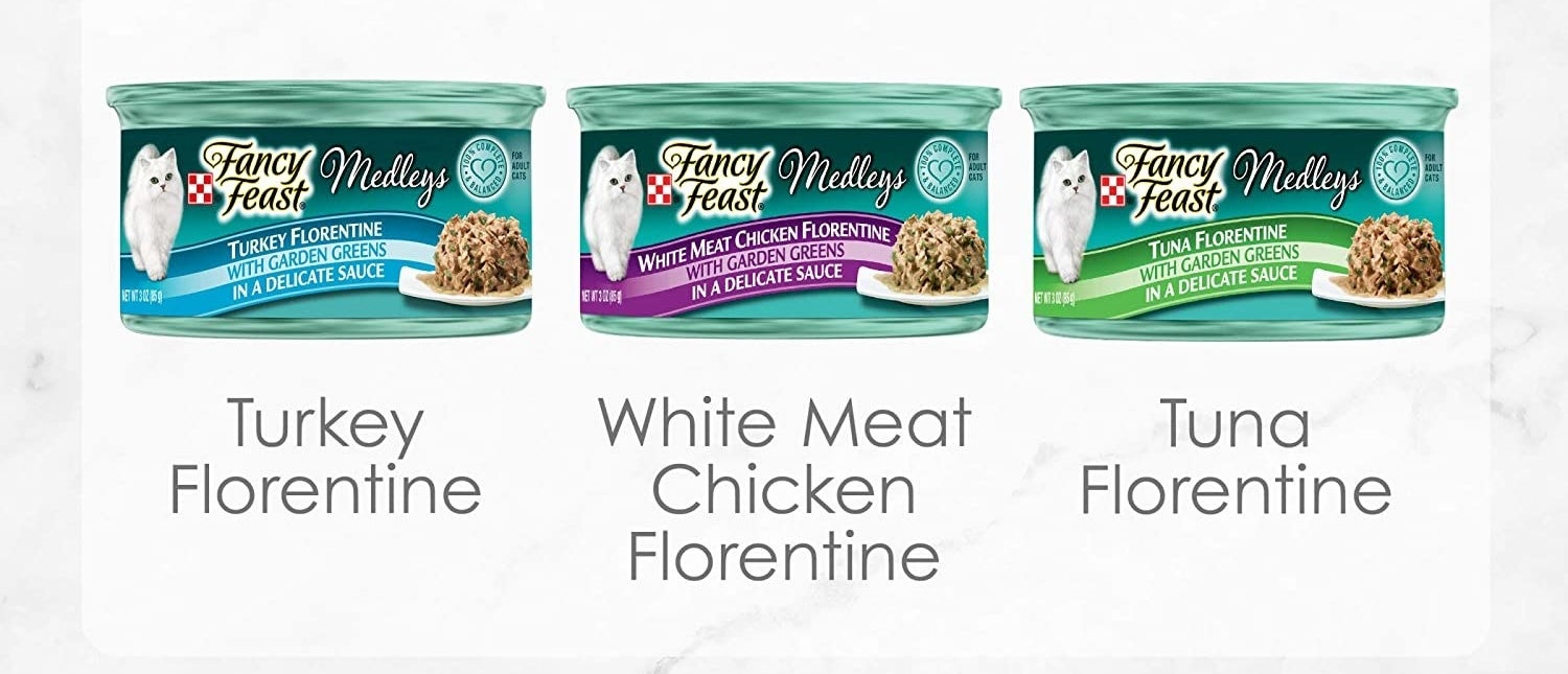 The variety pack of food including turkey florentine, white meat chicken florentine, and tuna florentine