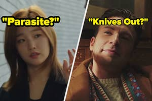 """Park So-dam as Kim Ki-jung in the movie """"Parasite"""" and Chris Evans as Hugh Ransom Drysdale in the movie """"Knives Out."""""""