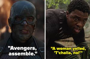 "Captain saying Avengers assemble side by side with T'Challa getting dusted saying ""A woman yelled, 'T'challa, no!'"""