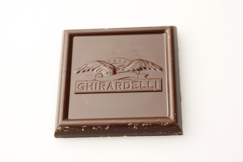 A square of Ghirardelli chocolate