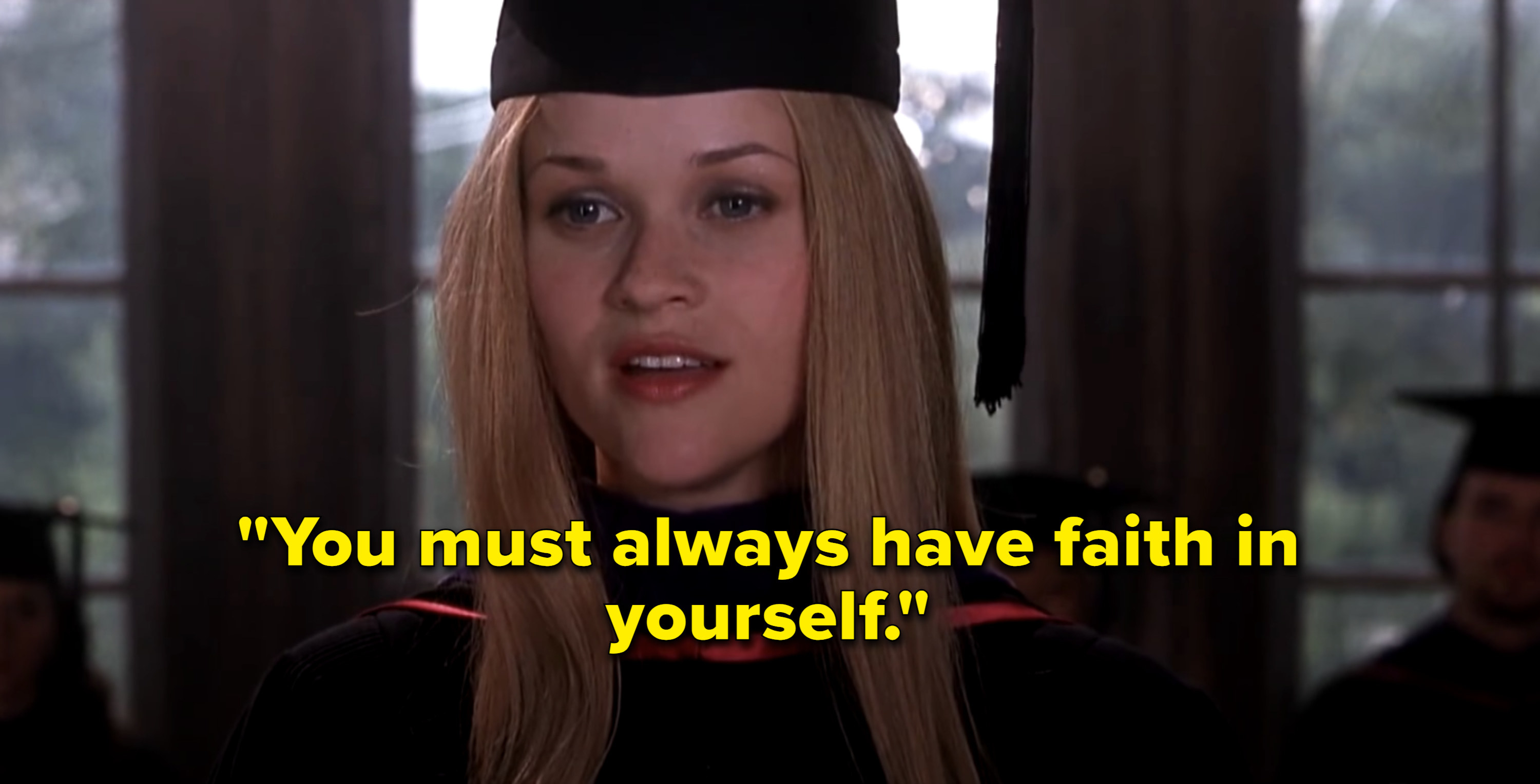 Elle Woods delivering a speech at her law school graduation