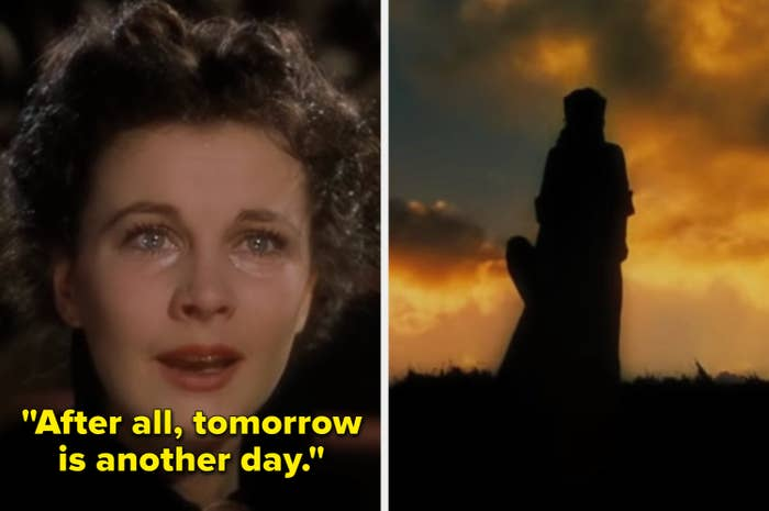 Scarlett O'Hara crying and looking at the sunset